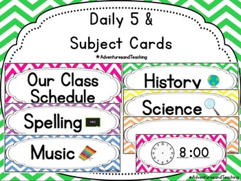 Bright Chevron Schedule, Subject, & Daily 5 Cards {EDITABLE}
