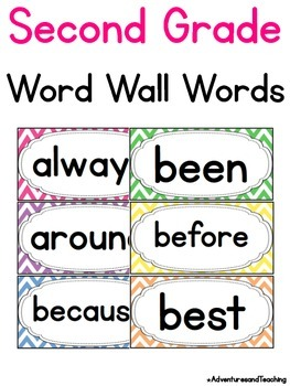 Bright Chevron Second Grade Sight Words Word Wall
