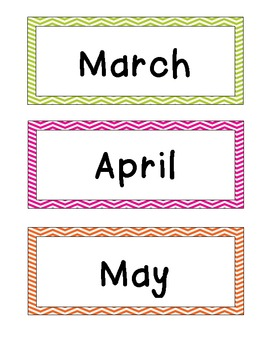 Bright Chevron Stripe Calendar Cards {Days and Months too}