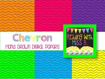 Bright Chevron Stripes - Hand Drawn (Commercial Use OK!)