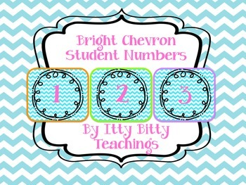 Bright Chevron Student Number Tags