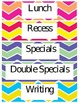 Bright Chevron Subject Labels *EDITABLE*
