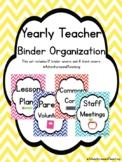 Back to School Bright Chevron Teacher Organization Binder Covers