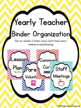 Back to School Bright Chevron Teacher Organization Binder Covers