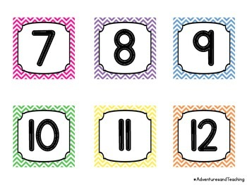Bright Chevron Themed Calendar Numbers