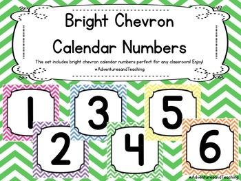 Bright Chevron Themed Calendar Numbers