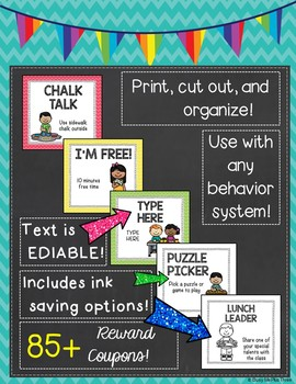Bright Chevron Themed Classroom Coupons and Rewards