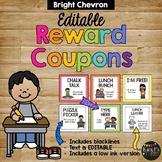 Reward Coupons EDITABLE Classroom Bright Rainbow Chevron Positive Behavior