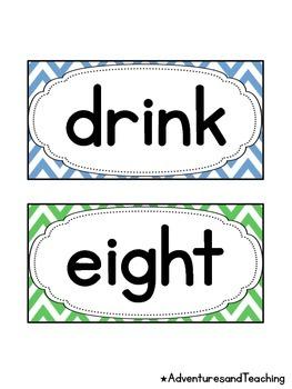 Bright Chevron Third Grade Sight Words Word Wall