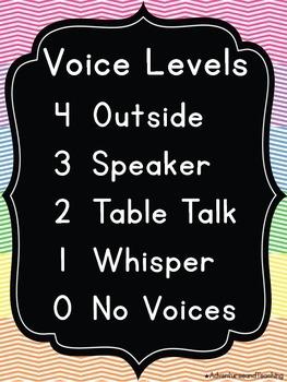 Bright Chevron Voice Levels Posters / Clip Chart {Black Background}