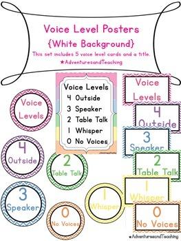 Bright Chevron Voice Levels Posters / Clip Chart {White Background}
