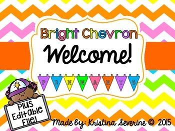 Bright Chevron Welcome Pennants {Plus Editable Pennants}