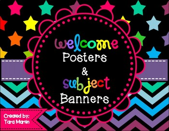 Bright Chevron Welcome Posters & Subject Banners