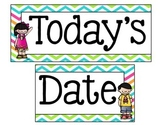 Bright Chevron Whiteboard Date Display