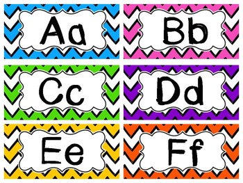 Bright Chevron Word Wall Cards-Editable
