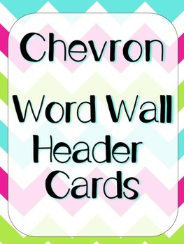 Bright Chevron Word Wall Header Cards