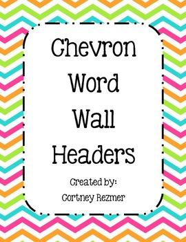 Bright Chevron Word Wall Headers