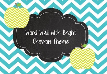 Bright Chevron Word Wall Teal, Lime Green, and Chalkboards