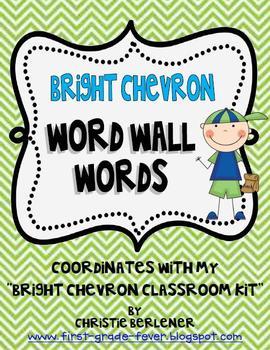 Bright Chevron Word Wall Words