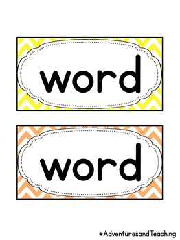 Bright Chevron Word Wall Words Cards {Editable}