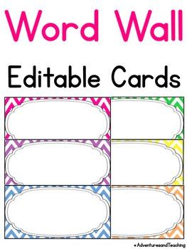 Bright Chevron Word Wall Words Cards {Editable}