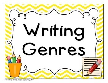 Bright Chevron Writing Genre Posters