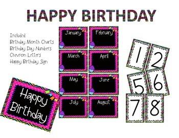Bright Chevron and Black Happy Birthday Bulletin Board Set