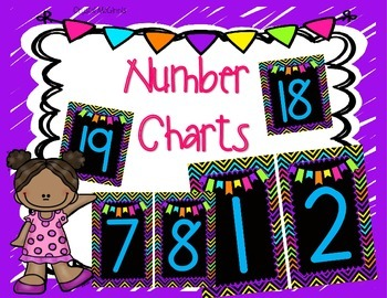Bright Chevron and Black Number Charts (1-20)