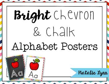 Bright Chevron and Chalk Alphabet Posters