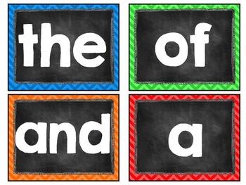 Bright Chevron and Chalkboard Word Wall Cards: Editable, Classroom Decor