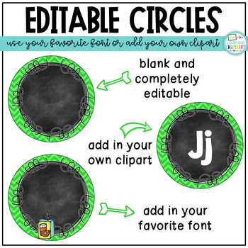 Bright Chevron and Chalkboard Word Wall Headers: Editable, Classroom Decor, ABC