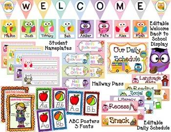 Bright Chevron and Owls Classroom Decor & Organization (EDITABLE)  BUNDLE