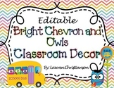Bright Chevron and Owls Classroom Decor & Organization (ED