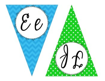 Bright Chevron and Polka Dot Cursive Pennant Banner
