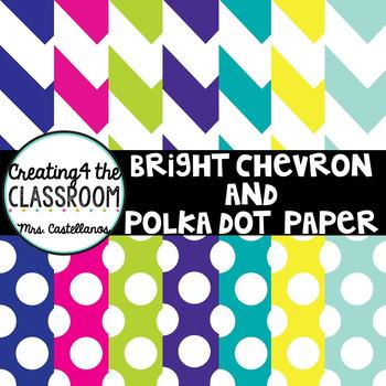 Bright Chevron and Polka Dots Paper