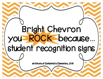 """Bright Chevron """"you ROCK because..."""" Student Recognition Signs"""