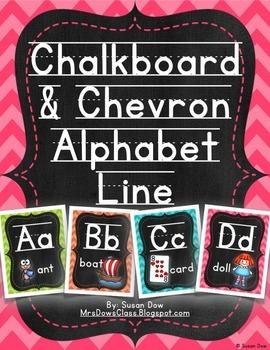 Bright Chevrons & Chalkboard Alphabet Line