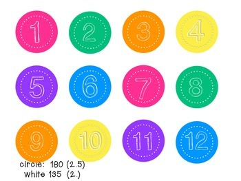 Bright 2 inch Circle Numbers 1-150