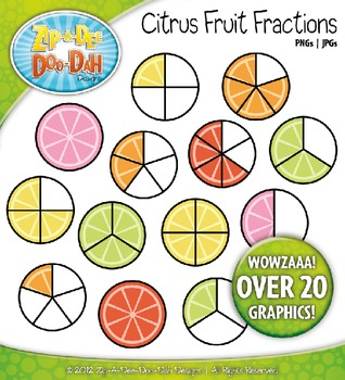 Bright Citrus Fruit Fractions Clipart — Over 20 Graphics!