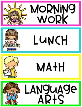 Bright Class Schedule Cards -EDITABLE
