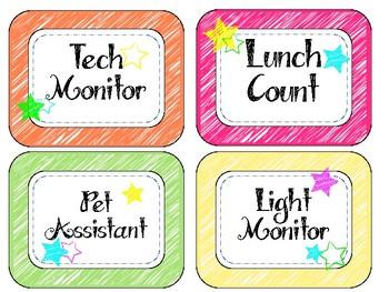 Bright Classroom Birthday and Jobs List