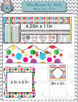 Bright Classroom Decor, Name Plates, Borders, Pockets, and Tags
