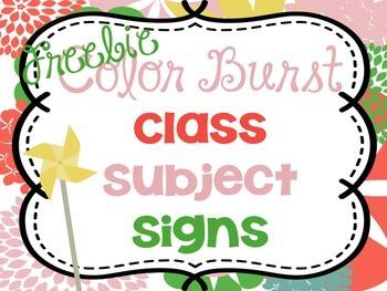 Bright Classroom Decor Subject Signs FREEBIE {Color Burst}