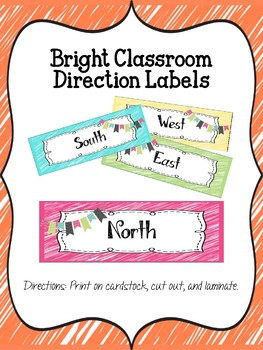 Bright Classroom Direction Labels