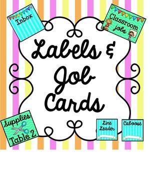 Bright Classroom Labels & Job Cards