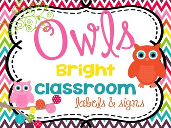 Bright Classroom Labels, Word Wall Letters and Signs {Owl themed} BUNDLE