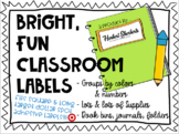 Bright Classroom Labels - fit target dollar spot adhesive