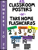 SIMPLE & CLEAN: ASL Number Posters -or- Take Home Flashcar