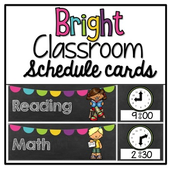 Bright Chalkboard Classroom Schedule Cards