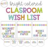 Bright Classroom Supply Wish List
